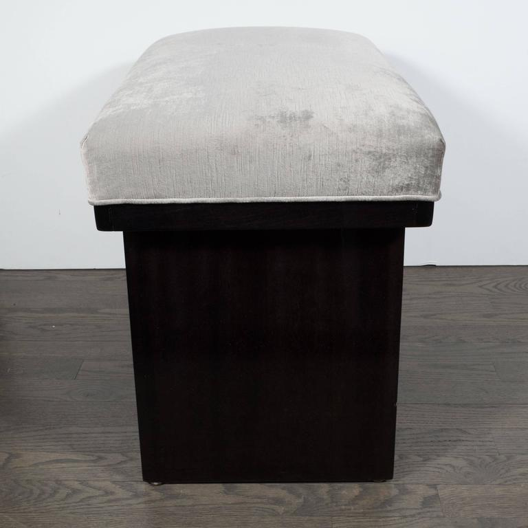 Mid Century Or Stool In Smoked Platinum Velvet And