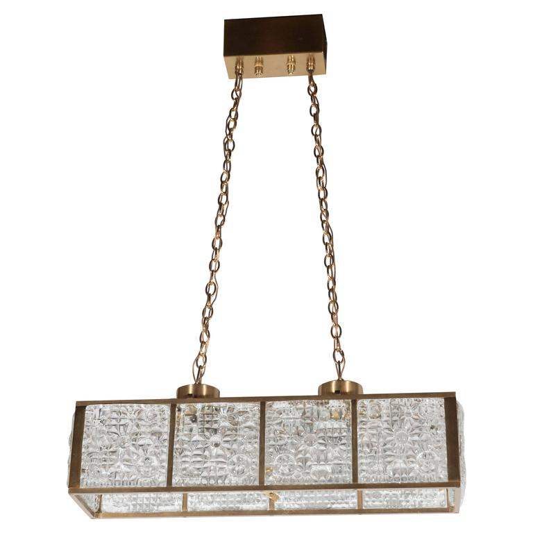 Mid century rectangular pendant chandelier in brass with textured mid century rectangular pendant chandelier in brass with textured glass panels for sale audiocablefo