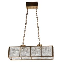 Mid-Century Rectangular Pendant Chandelier in Brass with Textured Glass Panels