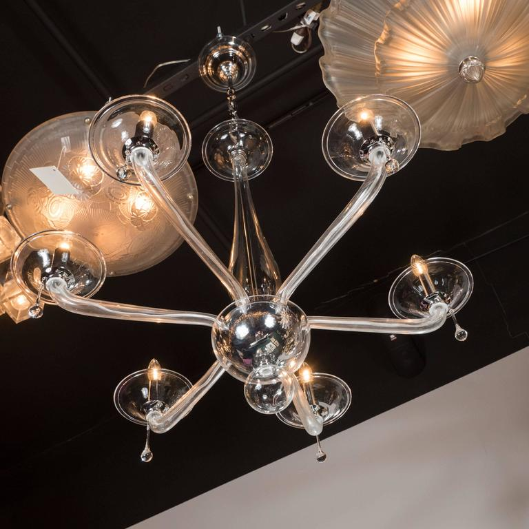 Mid-20th Century Mid-Century Handblown Six-Arm Murano Chandelier in Clear Glass For Sale