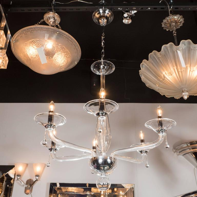Mid-Century Handblown Six-Arm Murano Chandelier in Clear Glass For Sale 1