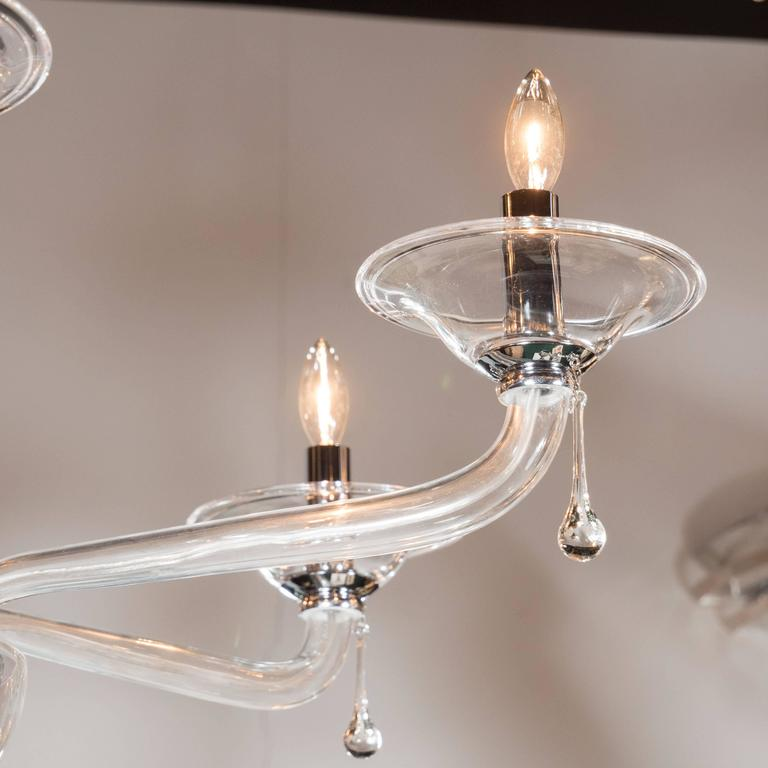 Murano Glass Mid-Century Handblown Six-Arm Murano Chandelier in Clear Glass For Sale