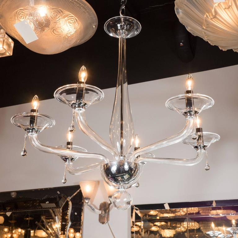 Mid-Century Handblown Six-Arm Murano Chandelier in Clear Glass For Sale 2