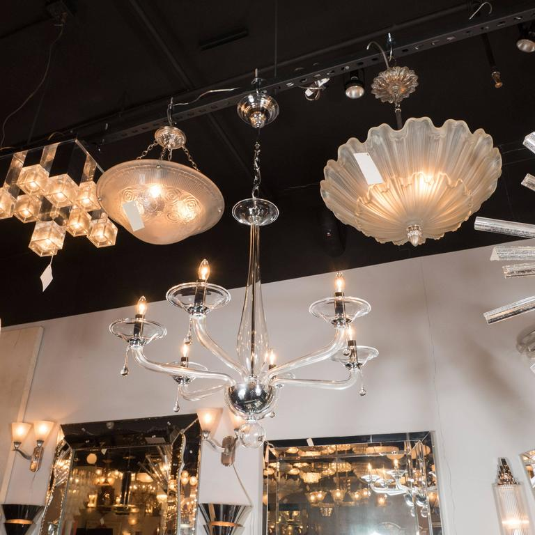 Mid-Century Handblown Six-Arm Murano Chandelier in Clear Glass For Sale 3
