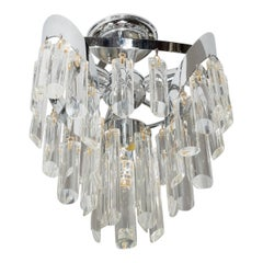 Mid-Century Modern Nickel Chandelier with Bias Cut Crystal Rods by Lobmeyr