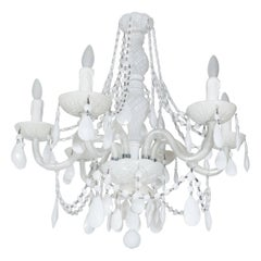 Glamorous Hollywood Regency Chandelier in White Pigment Glass and Jewel Pendants