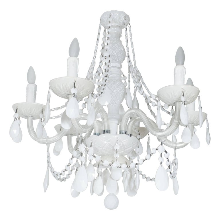 Glamorous Hollywood Regency Chandelier in White Pigment Glass and Jewel Pendants For Sale