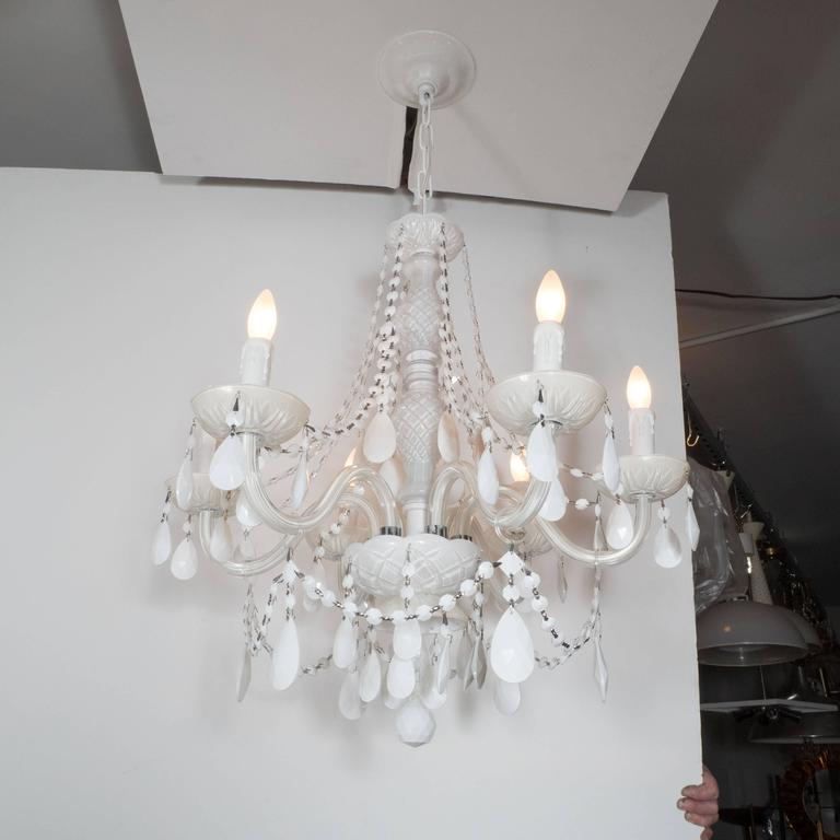 American Glamorous Hollywood Regency Chandelier in White Pigment Glass and Jewel Pendants For Sale