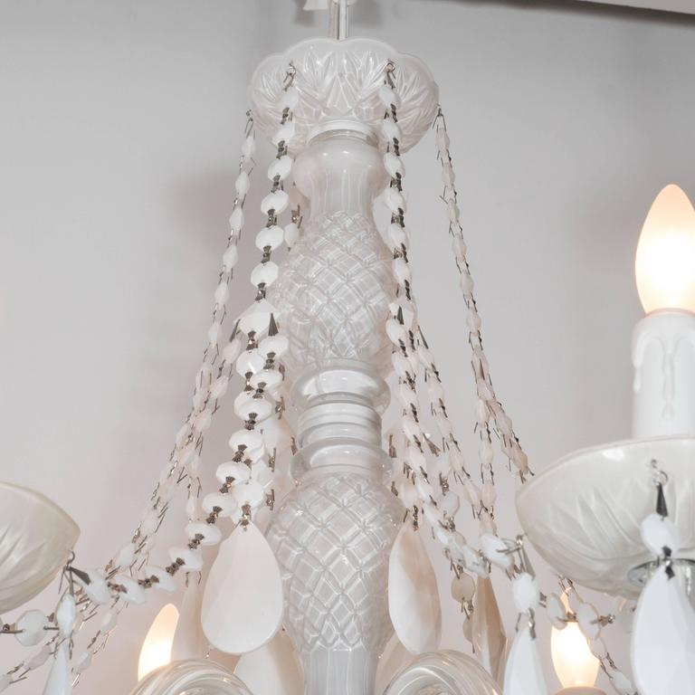 Glamorous Hollywood Regency Chandelier in White Pigment Glass and Jewel Pendants In Excellent Condition For Sale In New York, NY