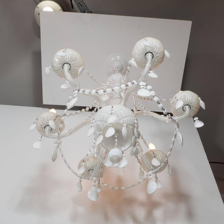Glamorous Hollywood Regency Chandelier in White Pigment Glass and Jewel Pendants For Sale 1