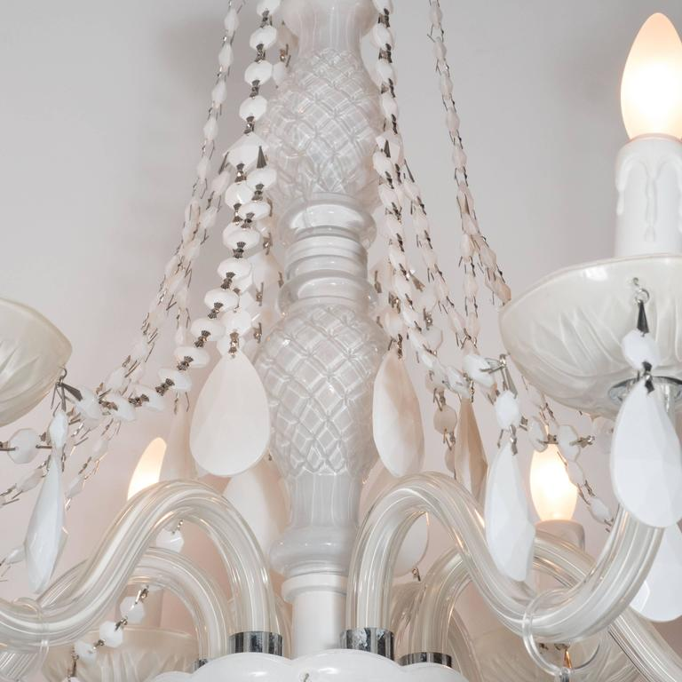 Glamorous Hollywood Regency Chandelier in White Pigment Glass and Jewel Pendants For Sale 3