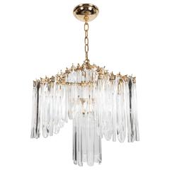 Mid-Century Draped Design Chandelier by Lobmeyr, 24-Karat Gold-Plated Fittings