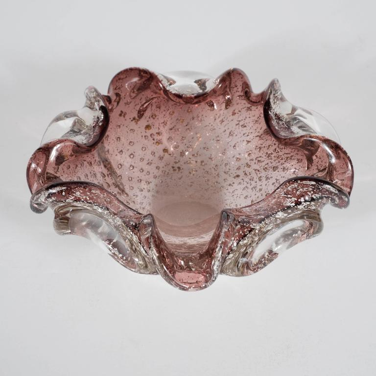 Mid-20th Century Mid-Century Modern Striking Foliate Mauve Murano Bowl/Ashtray, Italy, circa 1950 For Sale