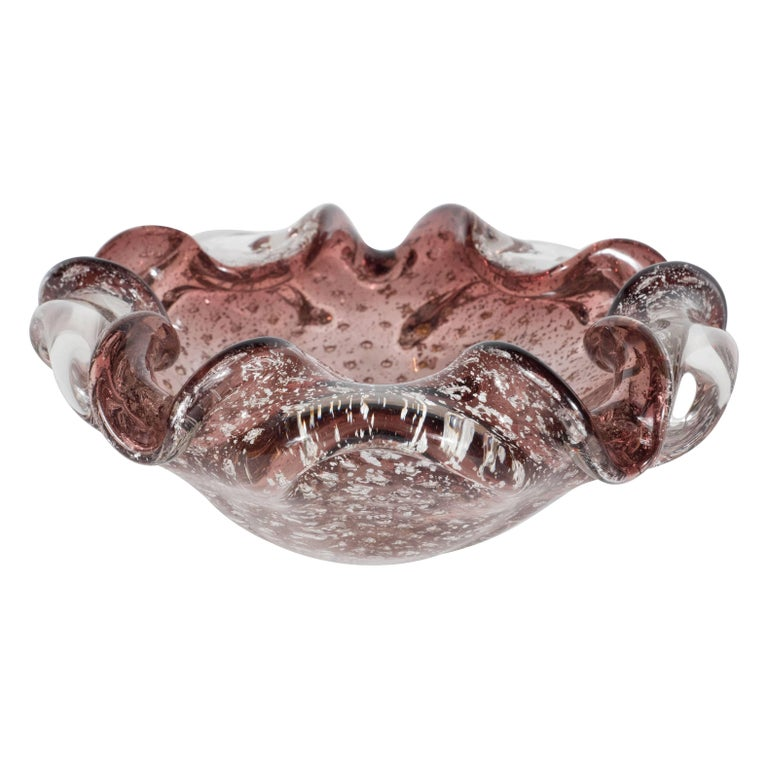 Mid-Century Modern Striking Foliate Mauve Murano Bowl/Ashtray, Italy, circa 1950 For Sale