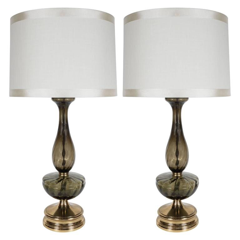 Mid-Century Modern Pair of Table Lamps in Handblown Murano Glass, circa 1960