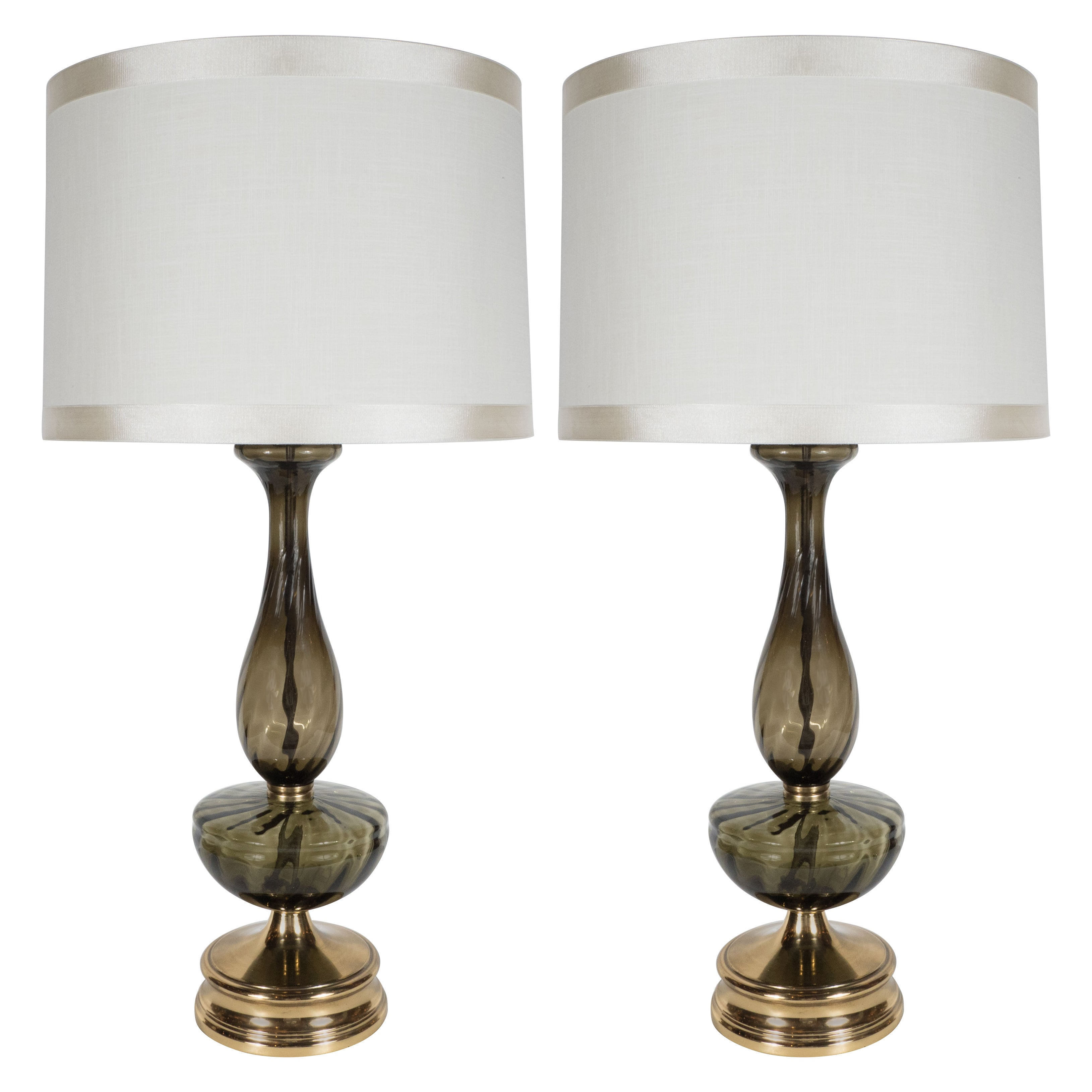 Mid-Century Modern Pair of Table Lamps in Handblown Murano Glass, circa 1960
