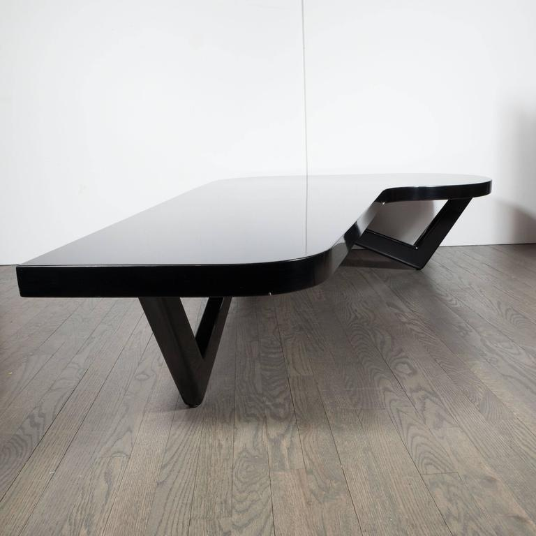 mid century modern l shaped cocktail table in hand rubbed ebonized walnut at 1stdibs. Black Bedroom Furniture Sets. Home Design Ideas