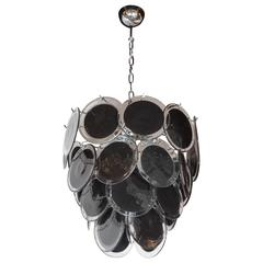 Modernist Clear and Black Murano Glass Disc Chandelier in the Manner of Vistosi