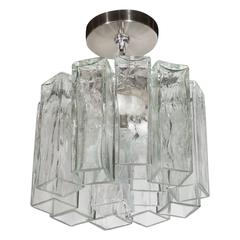 Mid-Century Pendant with Textured Glass Rectangular Tronchi Hanging Prisms