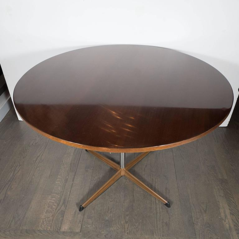 mid century modernist round dining table in walnut and chrome at 1stdibs. Black Bedroom Furniture Sets. Home Design Ideas