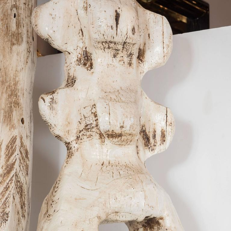 Monumental Pair of White Washed Hand Organic Sculpted Totems by Espen Eiborg 3