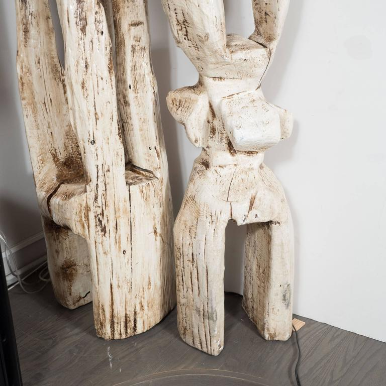 Monumental Pair of White Washed Hand Organic Sculpted Totems by Espen Eiborg 4