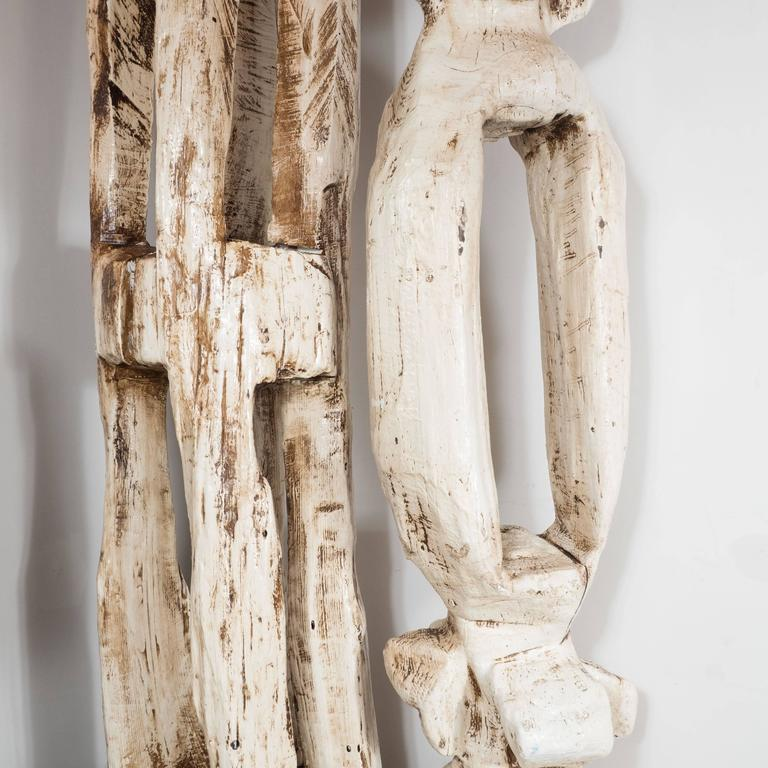 Monumental Pair of White Washed Hand Organic Sculpted Totems by Espen Eiborg 7