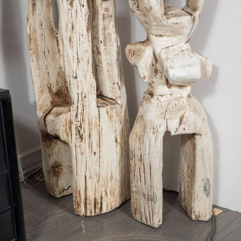 Monumental Pair of White Washed Hand Organic Sculpted Totems by Espen Eiborg 8