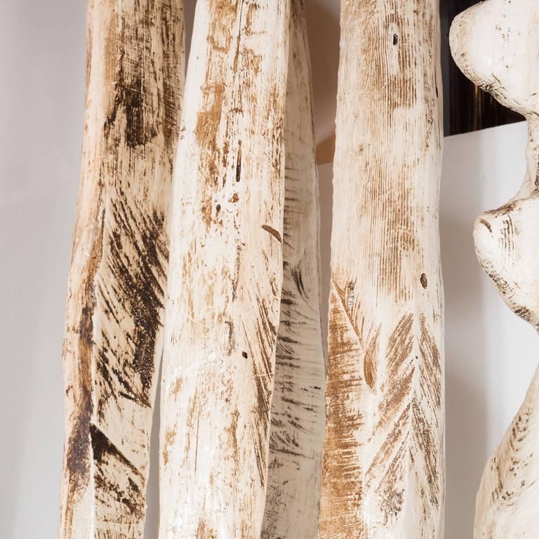 Monumental Pair of White Washed Hand Organic Sculpted Totems by Espen Eiborg 9