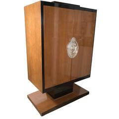 Art Deco Style Armoire in the Style of Ruhlmann in Walnut, Lacquer and Giltwood