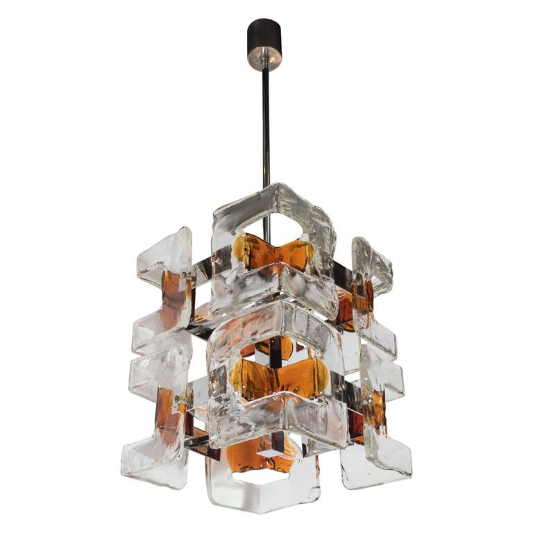 Mid-Century Modernist Handblown Murano Glass Chandelier by Mazzega
