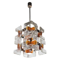 Mid-Century Modern Handblown Murano Clear & Amber Glass Chandelier by Mazzega