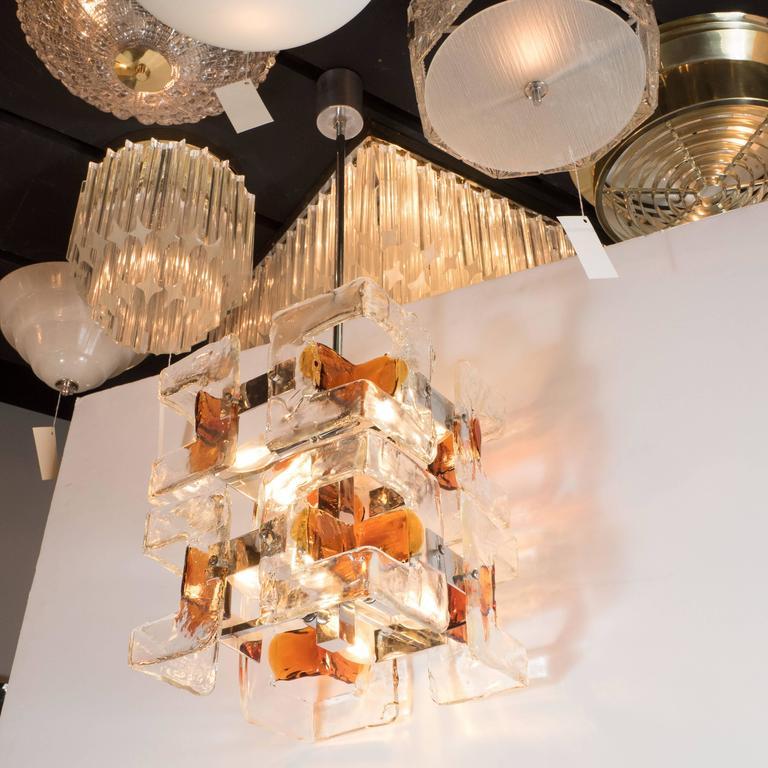 Italian Mid-Century Modernist Handblown Murano Glass Chandelier by Mazzega For Sale