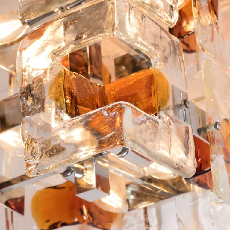 Mid-Century Modernist Handblown Murano Glass Chandelier by Mazzega In Excellent Condition For Sale In New York, NY