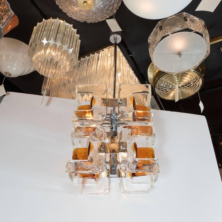 Mid-Century Modernist Handblown Murano Glass Chandelier by Mazzega For Sale 1