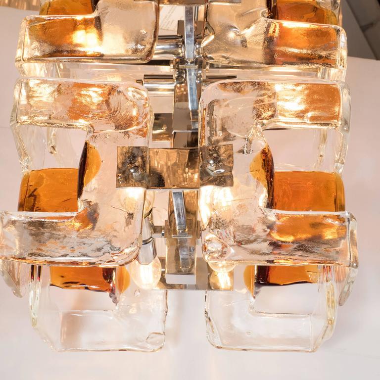 Mid-Century Modernist Handblown Murano Glass Chandelier by Mazzega For Sale 3