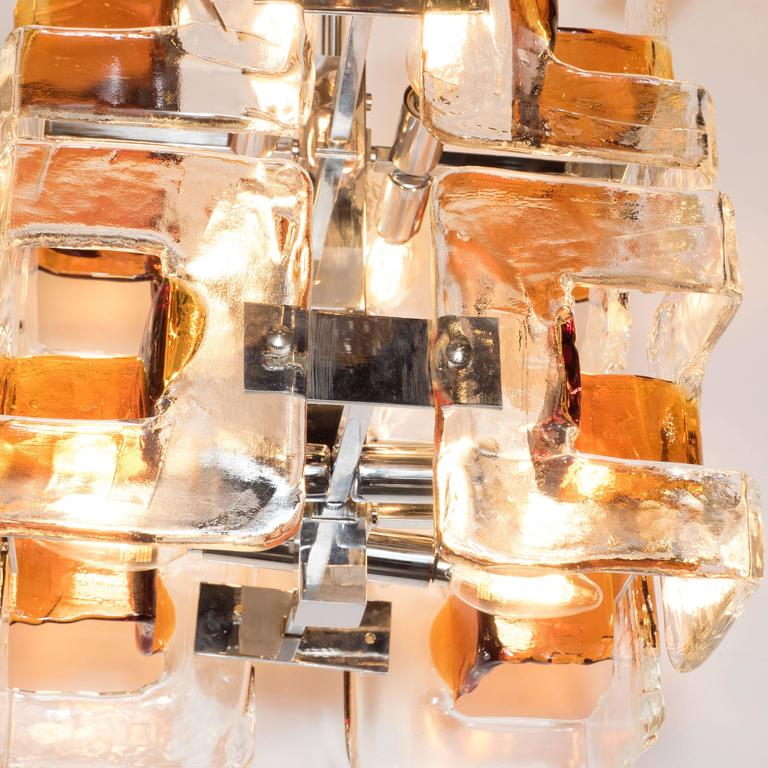 Mid-Century Modernist Handblown Murano Glass Chandelier by Mazzega For Sale 4