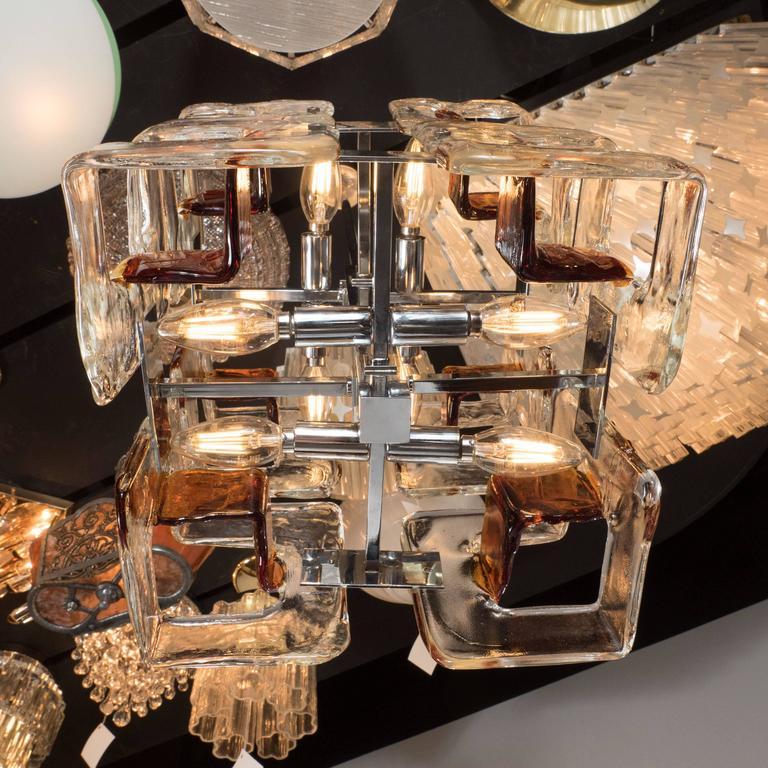 Mid-Century Modernist Handblown Murano Glass Chandelier by Mazzega For Sale 2