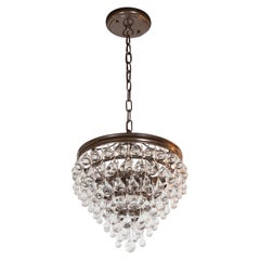 Hollywood Regency Crystal Teardrop and Ball Chandelier with Bronze Fittings