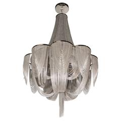 Modernist Polished Stainless Steel Draped Mesh Chandelier in the Style of Baylar