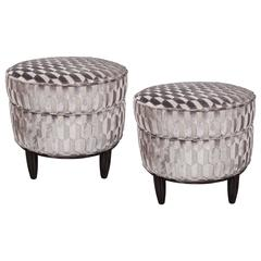 Art Deco Pair of Ottomans in Patterned Platinum Velvet in the Style of Follot