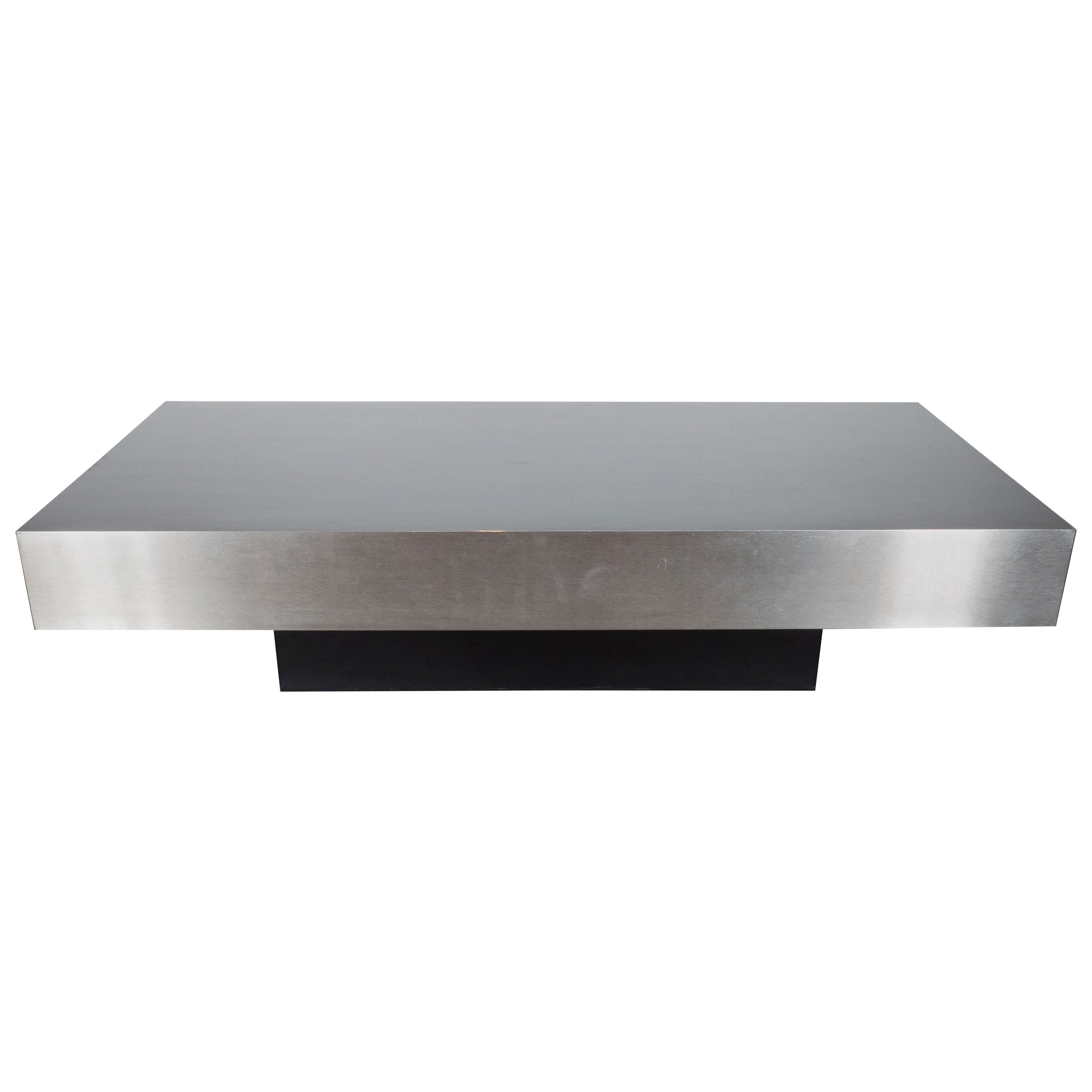 Incroyable Mid Century Modernist Low Cocktail Table In Brushed Aluminium, Style Of  Breuton