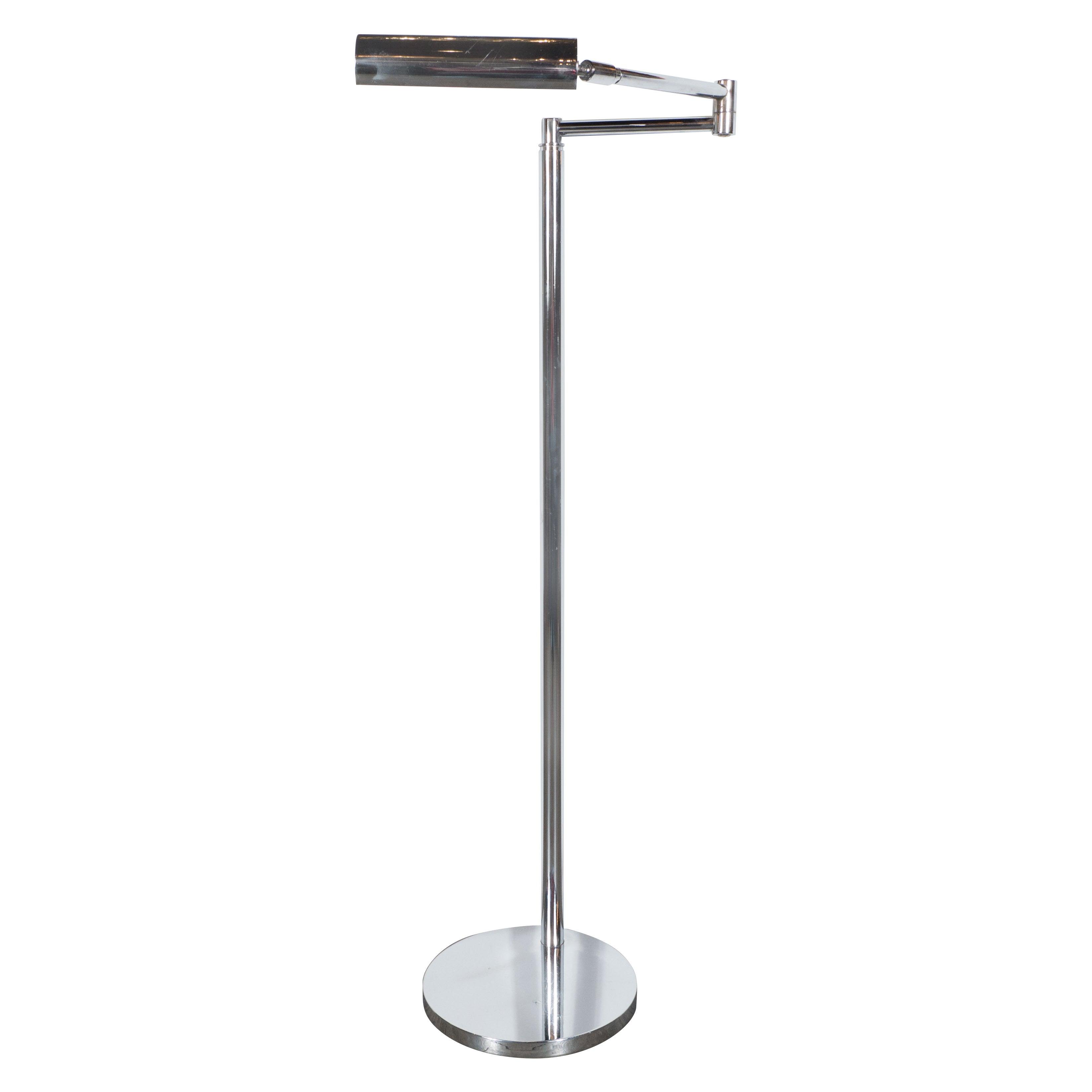 Sleek Mid-Century Modernist Chrome Swing-Arm Floor Lamp