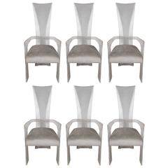 Set of Six Mid-Century Dining Chairs in Lucite and Smoked Platinum Upholstery