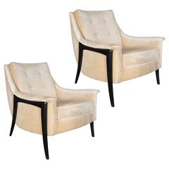 Pair of Midcentury Armchairs in Ebonized Walnut with Smoked Oyster Velvet