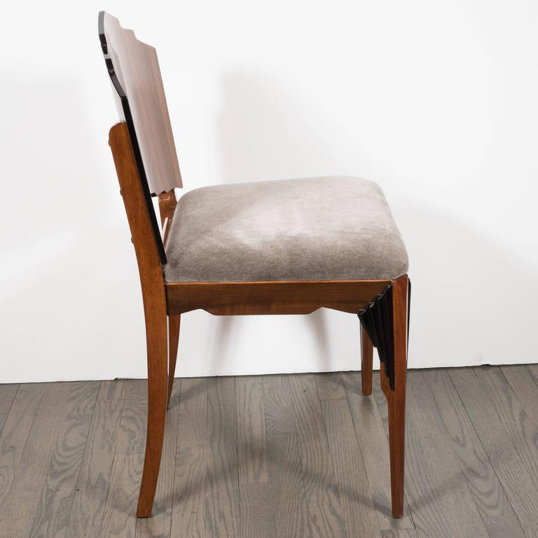American Art Deco Skyscraper Vanity/ Desk Chair in Bookmatched Walnut and Black Lacquer For Sale