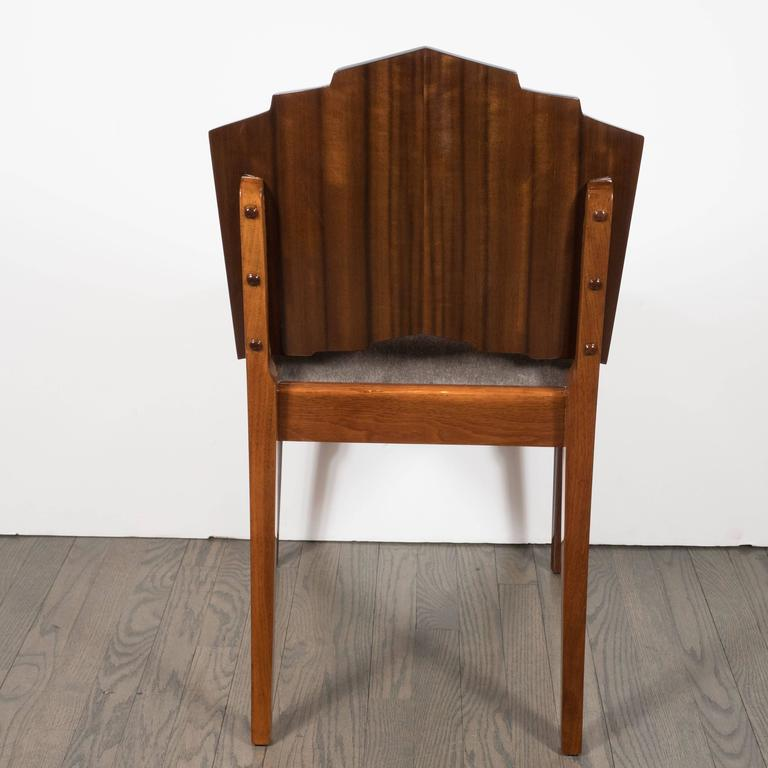 Art Deco Skyscraper Vanity/ Desk Chair in Bookmatched Walnut and Black Lacquer In Excellent Condition For Sale In New York, NY