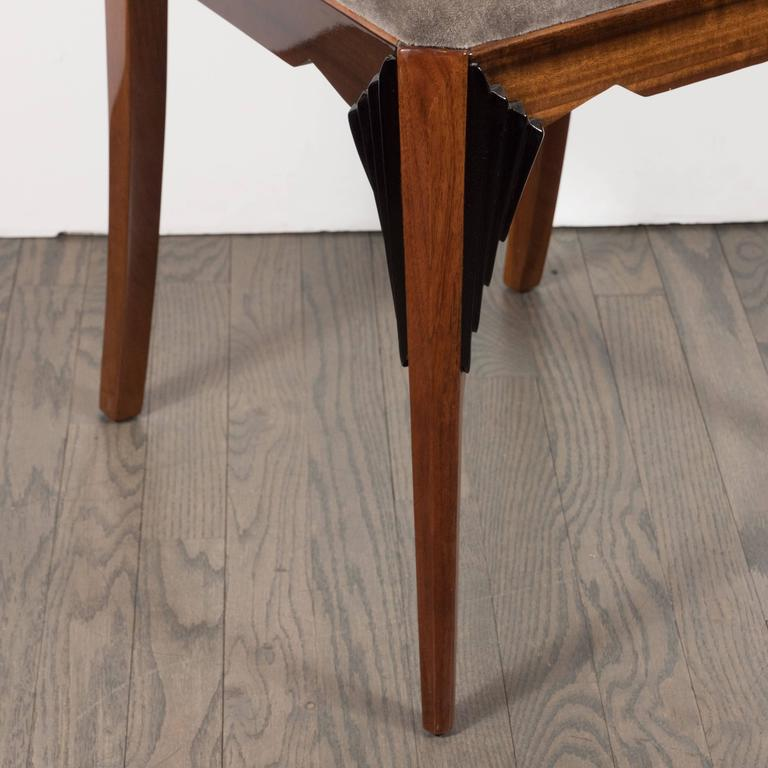 Art Deco Skyscraper Vanity/ Desk Chair in Bookmatched Walnut and Black Lacquer For Sale 1