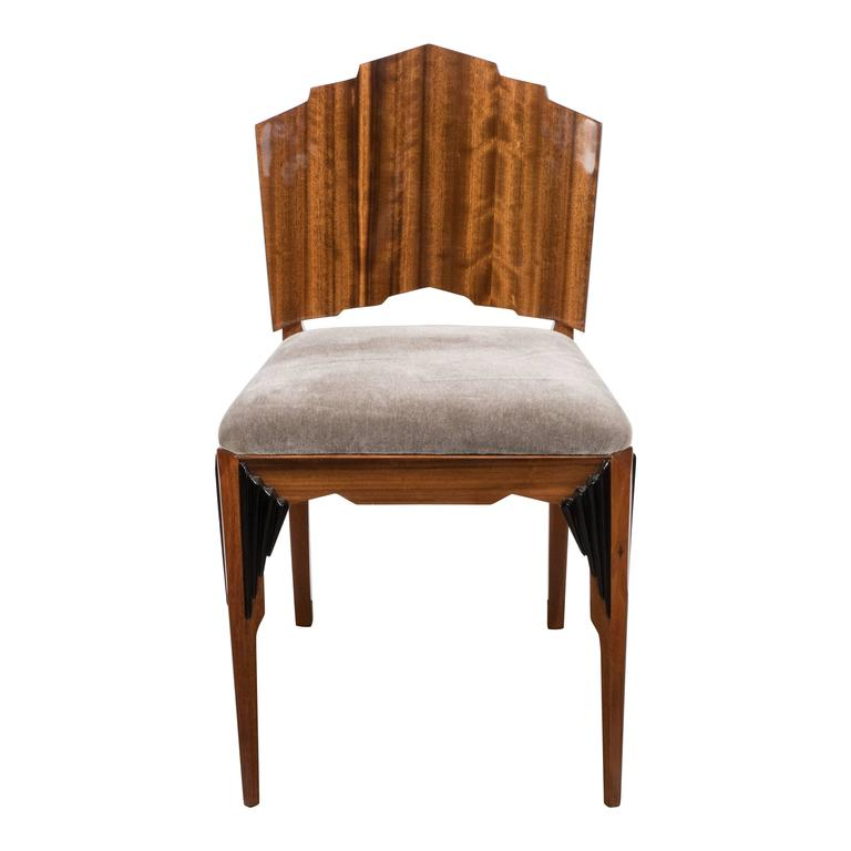 Art Deco Skyscraper Vanity/ Desk Chair in Bookmatched Walnut and Black Lacquer For Sale