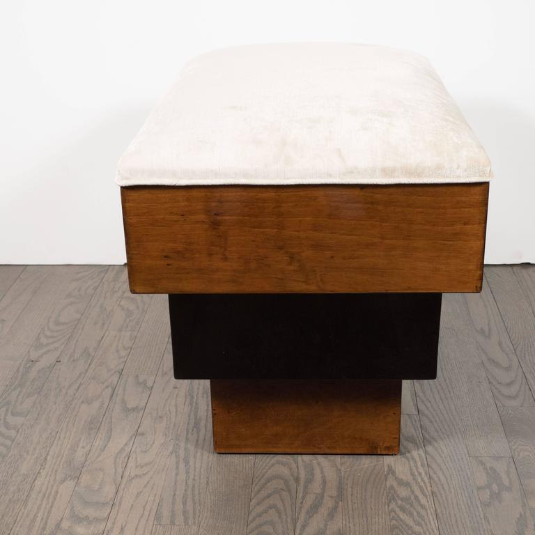 Stunning Art Deco Skyscraper Style Three-Tiered Walnut and Black Lacquer Bench 3